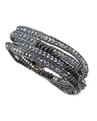 Nakamol - Gray Knotted Leather Beaded Wrap Bracelet - Lyst