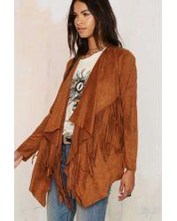 Nasty Gal - Brown Fixin' To Vixen Drape Fringe Jacket - Camel - Lyst