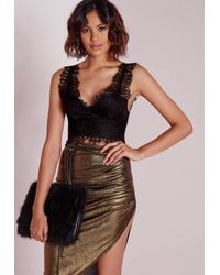 Missguided - Longline Lace Bralet Black - Lyst