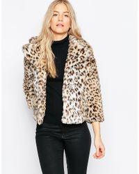 Ganni | Multicolor Gisele Short Faux Leopard Fur Coat | Lyst