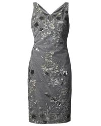 David Meister | Gray Embroidered Floral Dress | Lyst