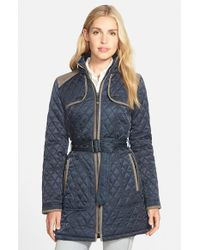 Vince Camuto | Blue Faux Suede Trim Belted Quilted Coat | Lyst