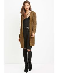 Forever 21 | Green Two-tone Longline Cardigan | Lyst