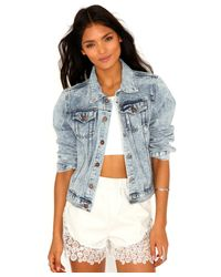 Missguided - Laverna Acid Wash Boyfriend Denim Jacket in Light Blue - Lyst