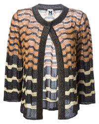 M Missoni | Black Metallic Striped Cardigan | Lyst