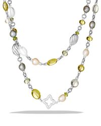 David Yurman - Metallic Bead Necklace With Lemon Citrine And Pearls - Lyst
