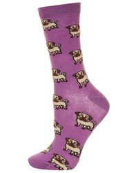 TOPSHOP - Pink Lavender All Over Pug Socks - Lyst