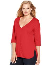 Michael Kors | Pink Michael Plus Size Seamed-front Tee | Lyst