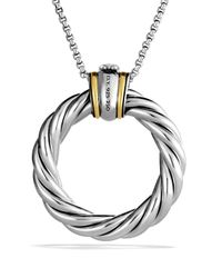 David Yurman - Metallic Cable Classics Large Pendant With Diamonds And Gold On Chain - Lyst