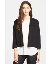 Eileen Fisher - Black Wool Interlock Knit Jacket - Lyst