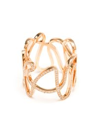 Repossi | Pink 18k Rose Gold And Diamond White Noise Ring | Lyst