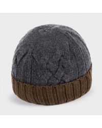 0a4b852c0113a Paul Smith Men s Grey And Brown Cable Knit Beanie Hat in Gray for ...