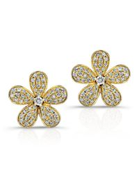 Anne Sisteron | Metallic 14kt Yellow Gold Diamond Flower Earrings | Lyst