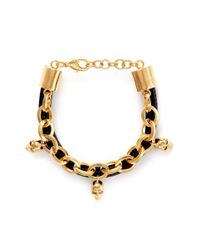 Alexander McQueen - Metallic Leather And Skull Embellish Chain Bracelet - Lyst