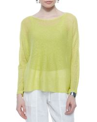 Eileen Fisher - Green Long-sleeve Mesh Box Top - Lyst