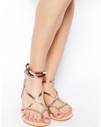 ASOS - Multicolor Wood Sequin Anklet - Lyst