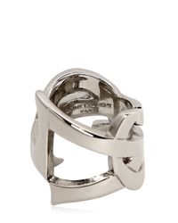 Saint Laurent | Metallic Monogramme Plated Metal Ring | Lyst