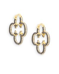 Freida Rothman | Metallic Open Scroll Clover Hoop Earrings/1"