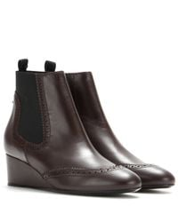 Balenciaga - Brown Leather Wedge Boots - Lyst