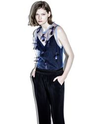 3.1 Phillip Lim - Blue Sleeveless Top With Fil Coupe Embellishment - Lyst