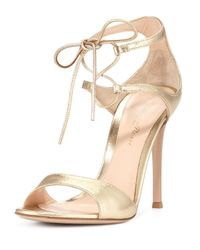 Gianvito Rossi - Ankle-Wrap Metallic Sandals - Lyst