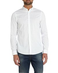 Michael Kors | White Troy Slim Micro-diamond Pattern Shirt for Men | Lyst