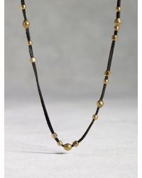John Varvatos | Metallic Leather & Bronze Bead Necklace for Men | Lyst