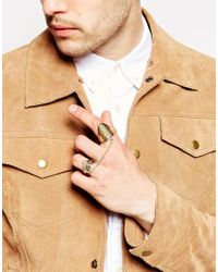 ASOS | Metallic Double Ring With Chain In Gold for Men | Lyst