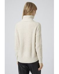 c3b3e96b1740 TOPSHOP Chunky Ribbed Roll Neck Jumper in Natural - Lyst