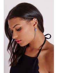 Missguided | Blue Triangle Pendant Ear Cuff Silver | Lyst
