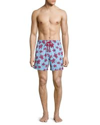 Vilebrequin | Blue Moorea Swim Trunks W/ Flocked Turtles for Men | Lyst