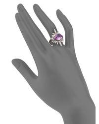 Alexis Bittar Fine - Metallic Velvet Marquis Amethyst, White Sapphire, Grey Diamond & Sterling Silver Ring Set - Lyst