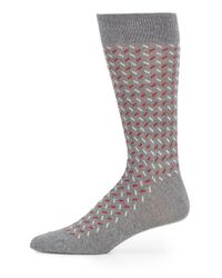 Saks Fifth Avenue | Gray Diagonal Dash Cotton-blend Socks for Men | Lyst
