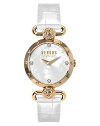 Versus | Metallic 'sunnyridge' Leather Strap Watch | Lyst