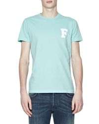French Connection | Blue College Chest F Logo Crew Neck T-shirt for Men | Lyst