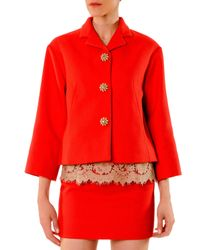 Dolce & Gabbana - Red Cotton Aline Jacket with Jeweled Buttons - Lyst