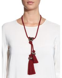 Lanvin - Red Veruschka Crystal-Embellished Cord Necklace - Lyst