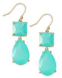 Kate Spade | Blue Gold-Tone Colorful Stone Double Drop Earrings | Lyst