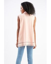 TOPSHOP | Pink Laser-cut Waistcoat By Love | Lyst