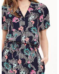 Banana Republic   Blue Print Belted Flounce Shirtdress   Lyst