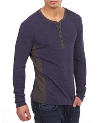 William Rast   Blue Two-tone Henley Pullover for Men   Lyst