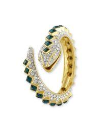Kenneth Jay Lane   Green Crystal And Emerald Snake Bracelet   Lyst