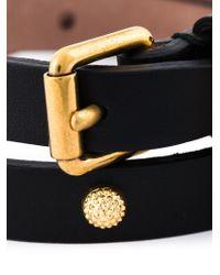 Alexander McQueen - Black Double Wrap Skull Bracelet - Lyst