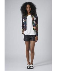 TOPSHOP - Multicolor Rose Print Peplum Jacket - Lyst