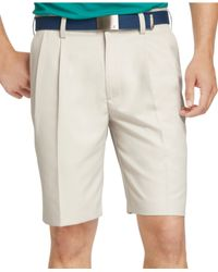 Izod - Natural Double Pleat Lightweight Shorts for Men - Lyst