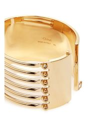Chloé - Metallic 'frances' Open Bar Brass Bangle - Lyst