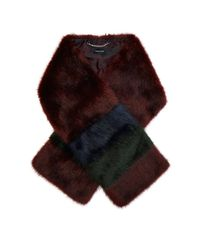 Karen Millen | Red Striped Faux-fur Scarf | Lyst