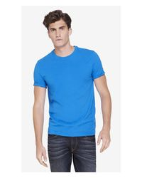Express | Blue Stretch Cotton Crew Neck Tee for Men | Lyst