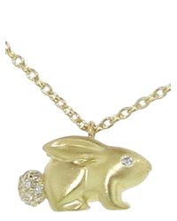 Finn - Metallic Diamond Bunny Necklace - Lyst