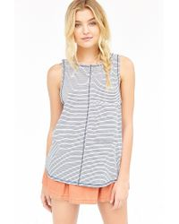 Truly Madly Deeply - Blue Oversized Pocket Tank Top - Lyst